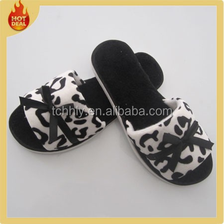Cheap open toe disposable hotel bedroom cotton slippers
