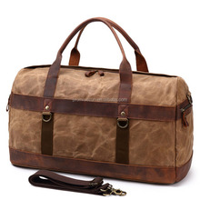 Custom vintage waxed duffle canvas and leather tote bags wholesale