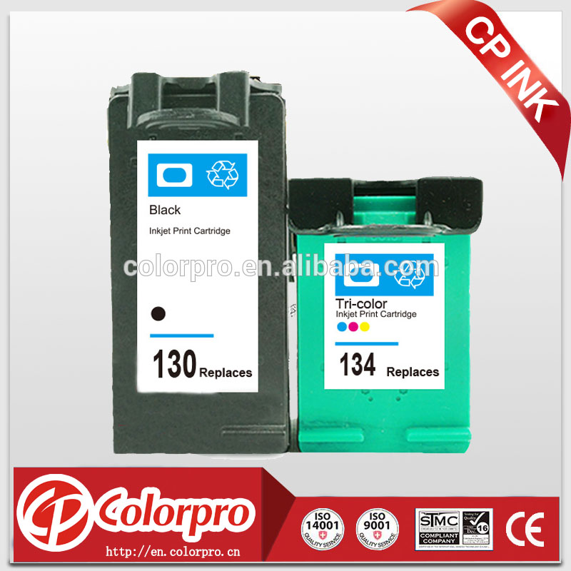 Wholesale remanufctured 130 134 ink cartridge for HP D1560/ D1311/ D1320/ D1330/ D1341 for HP 130 134 with dye ink
