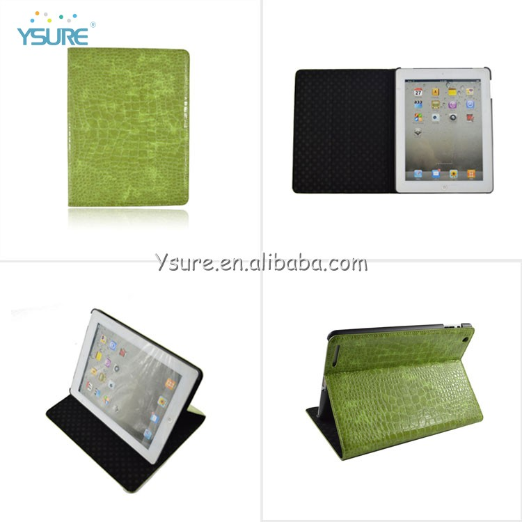 Customized Brand Name Green Crocodile Slim Magnetic PU Leather Stand Smart Cover Case For iPad air iPad 5