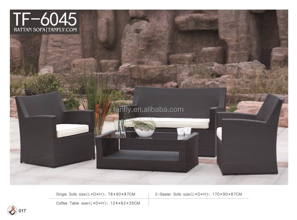 Wholesale elegant garden/patio/bench rattan/wicker sofa and coffee table set