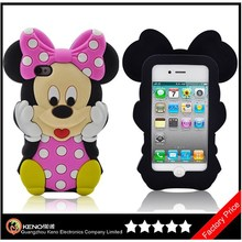 Keno Lovely Cartoon Minnie Mouse Soft 3D Silicon Animal Case for iPhone4