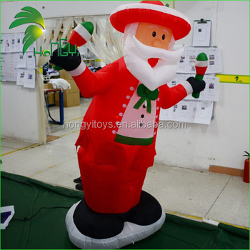 Lighting Music Cheap Inflatables Father Christmas / Waving LED Decoration Inflatable Christmas Old Man