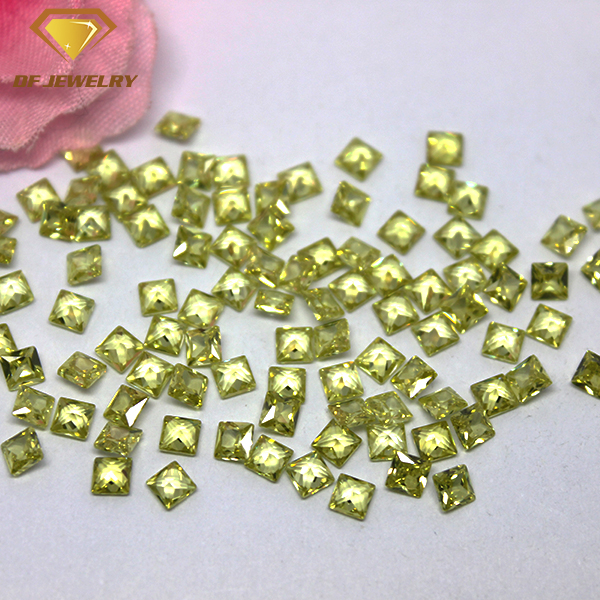 Machine Cut Square Cubic Zirconia Synthetic Apple Green CZ Gemstone