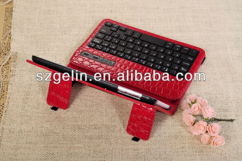 2013 crocodile pattern silicon rubber bluetooth keyboard for ipad