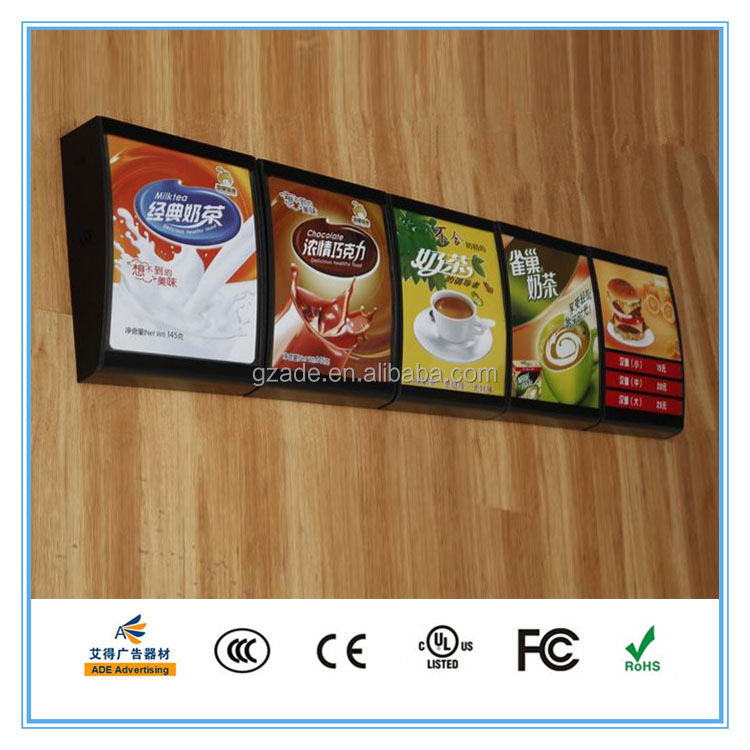 Arc shape ABS frame indoor LED advertising display billboard stand fast food KFC menu board