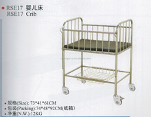 CJRSE17 Hot Stainless Steel Vanry Medical Baby Cot Bed Prices Infant Hospital Bed Hospital Baby Bed With 4 Caster Wheels