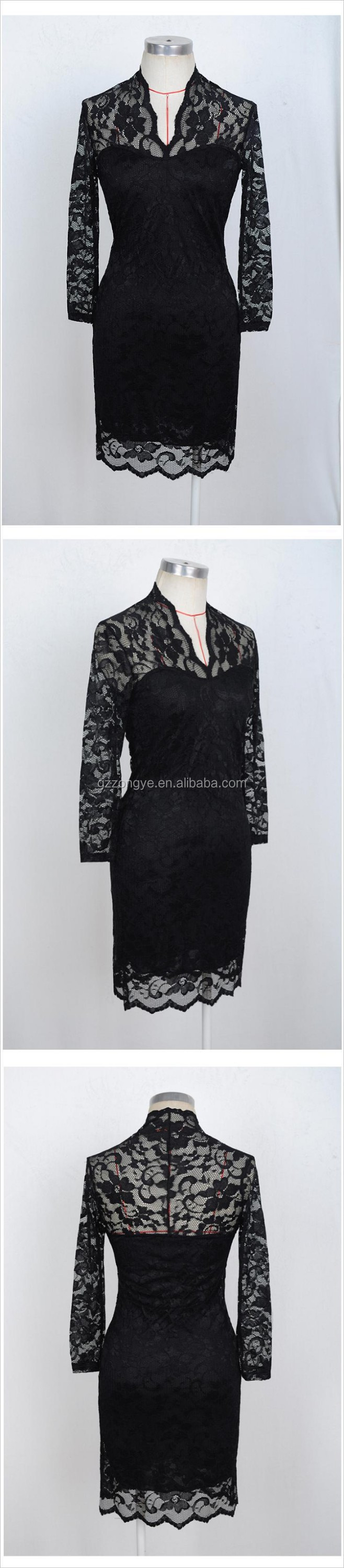 OEM apparel new fashion elegant women's black lace party dress