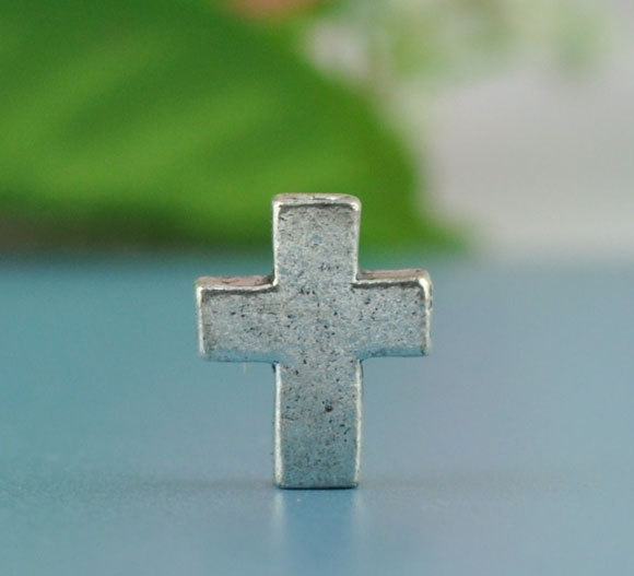 Custom Antique Silver Zinc metal alloy Cross Beads for decorating