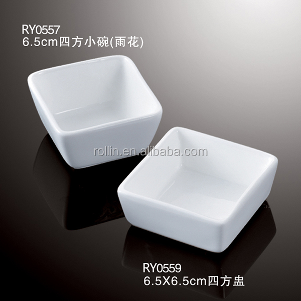 hot sale hotel&restaurant rectangular white ceramic porcelain plates square small bowl sauce dishes
