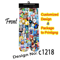 creature cellphone design unisex sublimation printing socks men women wholesale and customize