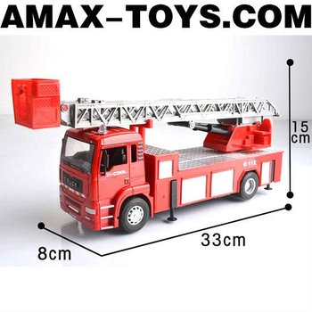 dc-106295352 Die cast truck 1:32 Emulational Die Cast Ladder Fire Truck Model