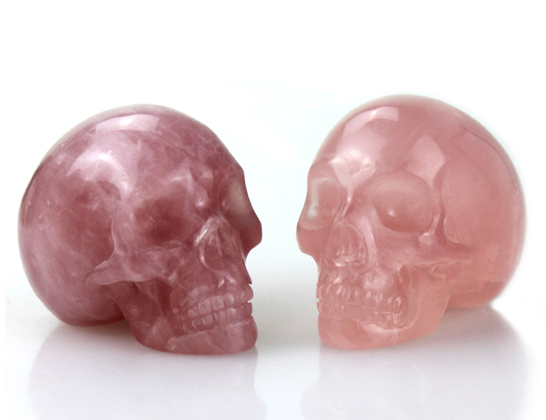 Wholesale Rose quartz rock crystal skull for sale,hand carved 2 inch crystal skull #DOI