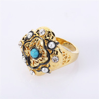 zircon stone finger rings design with gold plated