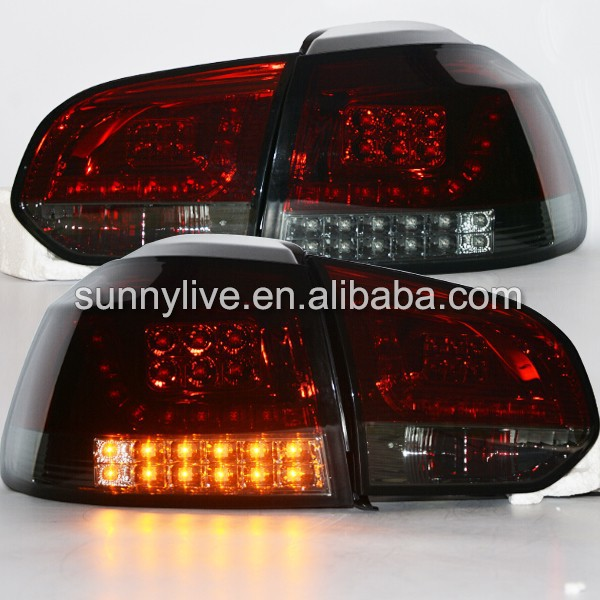 2009-2012 Year VW Golf 6 MK6 led Tail Lights Rear Lamps Red Housing Black Smoke Cover SN