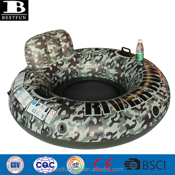 thick PVC camouflage color inflatable mesh float lounge tube with handles and cup holder backrest river run water lounger chair