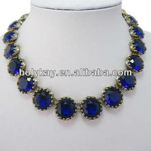 Mysterious sapphire beaded necklaces,New designers statement necklace,Kinding jewelry necklace beads