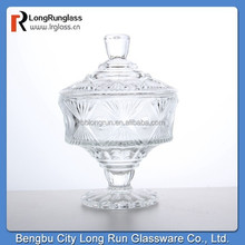 LongRun unique design top grade cover carved footed glass jar for chocolate/cookie glassware wholesale