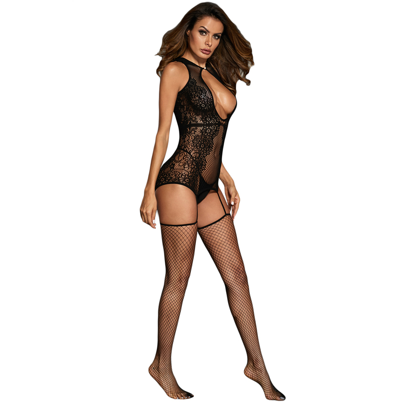 Sexy Hollow Out Pattern Floral Nette Seamless Body Stocking