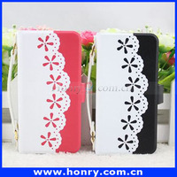 Newest Young Lady Lace Leather cell phone Case For Apple iPhone 5