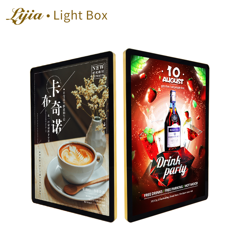 lijia lightbox <strong>LED</strong> poster frame magnetic cinema display a4 0 1 2 3 Round Angle super slim aluminum advertising light <strong>box</strong>