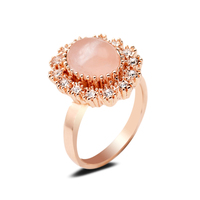 Exquisite Rose Quartz Stone Gem Ring Finger Bijoux Light Pink Oval Vintage Floral Wedding Rings For Lady