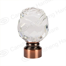 2016 popular fancy decorative flower rose crystal curtain rod finial end caps on sale factory directly