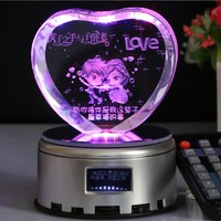 Customized Crystal Heart Shape Craft Laser