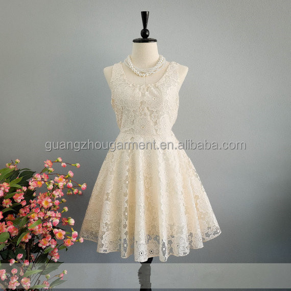 New arrived bow back Scoop neck cream party lace cocktail bridesmaid prom dress
