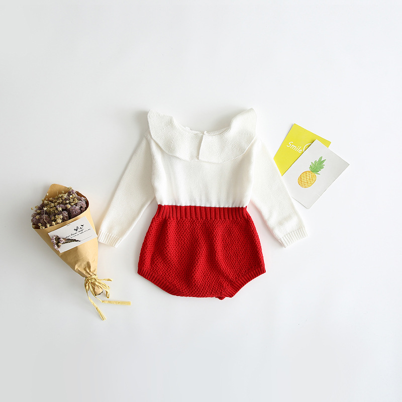 2017 winter baby wear clothes long sleeve knit baby romper