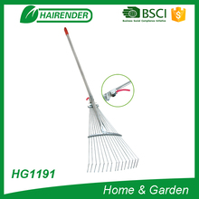 15T telescopic rake adjustable metal rake long handle leaf rake