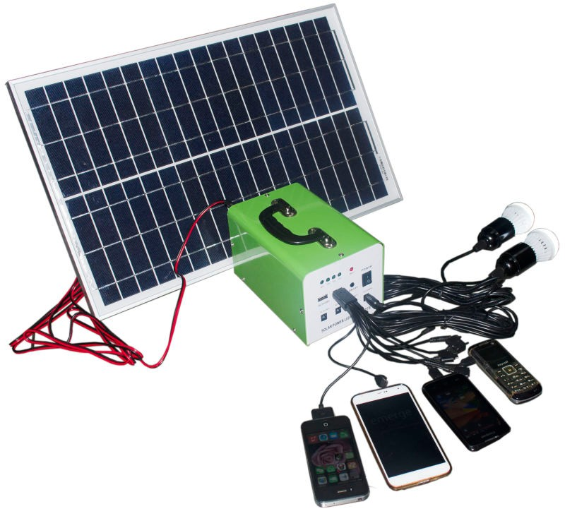 12V mini home solar system with 20W mono solar panel /7AH battery/LED bulb /mobile charger