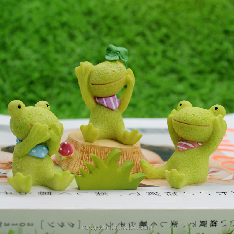 ROOGO 2017 Lastest design 3D garden resin mini light animal frog statues