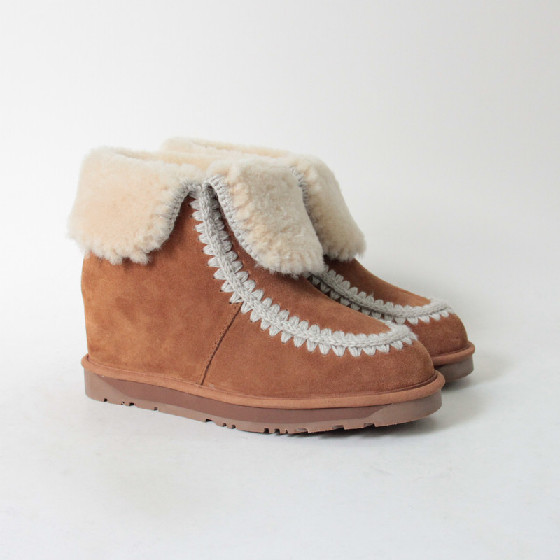 Wholesale shoes made in China leather ankle boots/sheepskin boots/long boots
