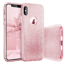 Luxury Bling Crystal Glitter Phone Case for iPhone X Detachable 3 Layers Hard PC Back Soft TPU Inner Shining Case for iPhone X