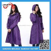 2015 Fashion Hot Sale One Piece Purple Waterproof Long Raincoat for Women
