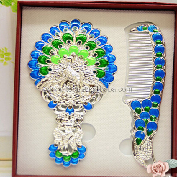 hair comb mirrror / Retro Peacock hand mirror /folding comb with mirror