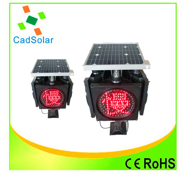 300mm Solar Powered Led Traffic Light Red Flashing Warning Light ...