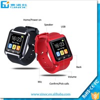 Made in China sport water resistant bluetooth smart u8 watch