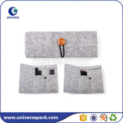 New design felt comb cosmetics pouch with wood button