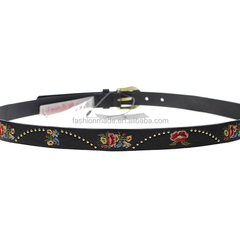 2018 new studded belt and pu material rivet woman belt leather
