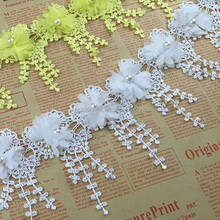 Golden Knit 7cm Width Embroidery 3D Flower Lace Trimming SJ001#