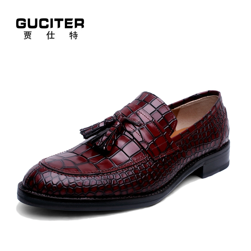 Alligator Pattern Exalted Goodyear shoes genuine leather custom Shoes men crocodile grain loafer Slip on Hand made shoes