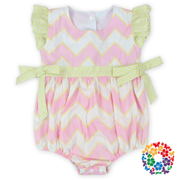 Kids Boutique Clothes Pink And White Chevron Designer Baby Cotton Romper Suits Baby Diapper Bodysuit Clothes With Match Headband