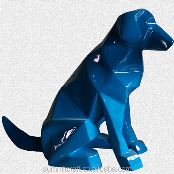 Customized Abstract origami fiberglass dog statue