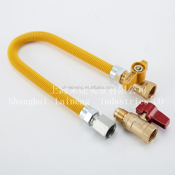 Yellow -Coated &Stainless steel Flexible Gas male Connector