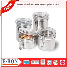 4-Piece Stainless Steel Canister Set with Airtight Acrylic Lid and Clamp-Food Storage Container