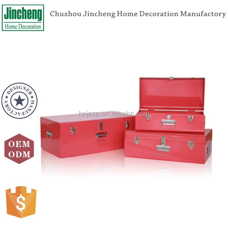 New arrival home decoration and storage set of 3 metal toy storage box