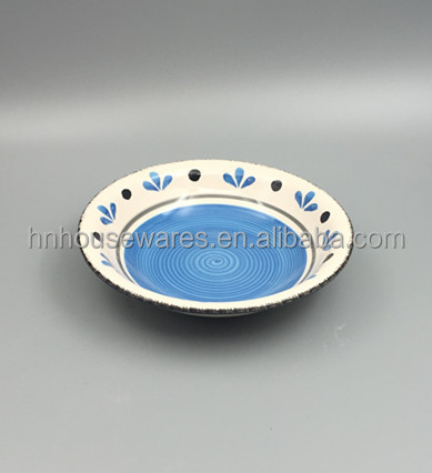 Hand painted blue flower pattern ceramic stoneware soup bowl, ceramic dinnerware set