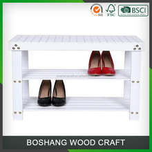 Size Customized 2 Tier Wooden Racks Shoe Bench